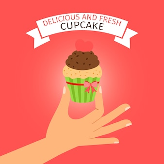 Delicious cupcake on red background