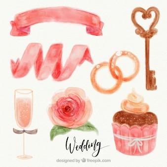 Delicious cupcake and watercolor decorative wedding elements