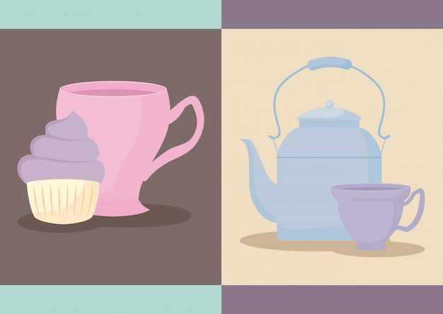 Delicious cupcake with teapot and cup