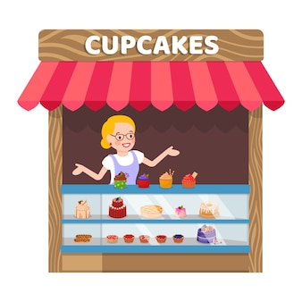 Delicious cupcakes booth flat vector illustration