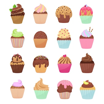 Delicious cupcakes and muffins vector cartoon set