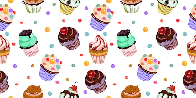 Delicious cupcakes seamless pattern