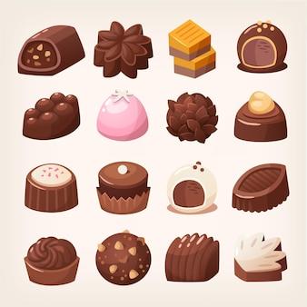 다양한 모양과 맛의 맛있는 다크 초콜릿과 화이트 초콜릿 캔디