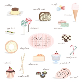 Вкусная десертная коллекция леденцов, пудинг, мороженое и пончик.