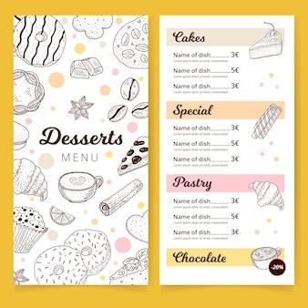 Modello di menu di deliziosi dessert