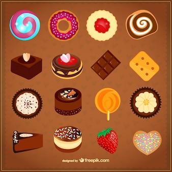 Delicious desserts set Free Vector