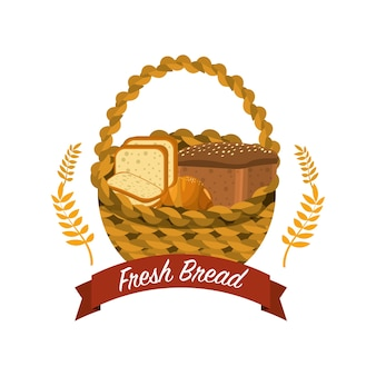 Delicious differents bread inside the basket