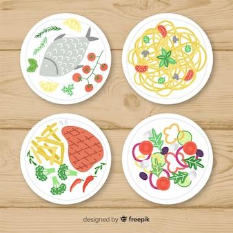 Collezione di deliziosi piatti