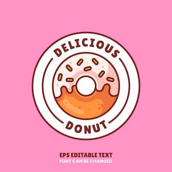Вкусный пончик логотип вектор значок иллюстрации премиум пончик логотип в плоском стиле для кафе