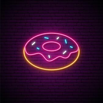 Вкусный пончик неоновая вывеска.