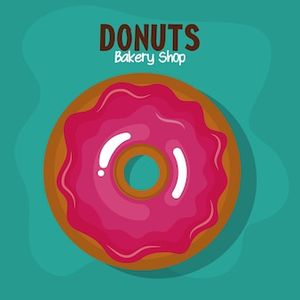 Delicious donuts bakery shop vector illustration design