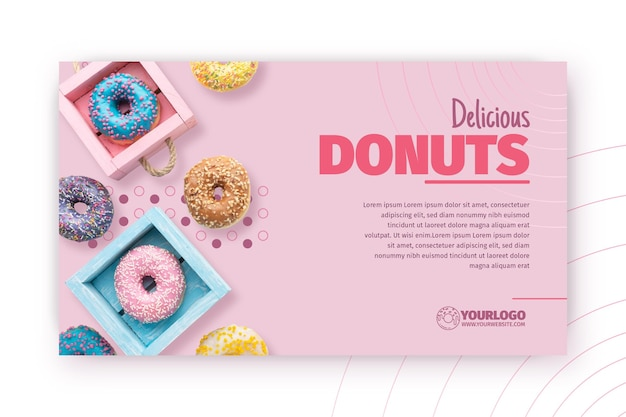 Delicious donuts banner template