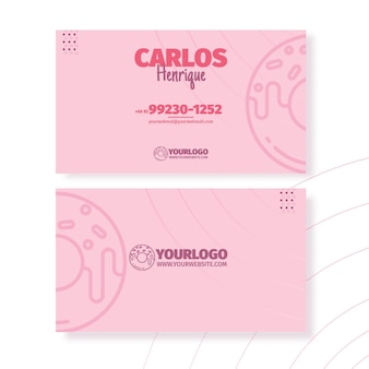 Шаблон визитной карточки вкусные пончики