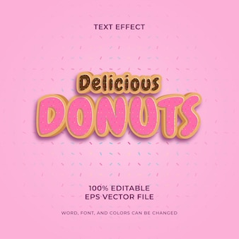 Delicious donuts editable text effect premium vector