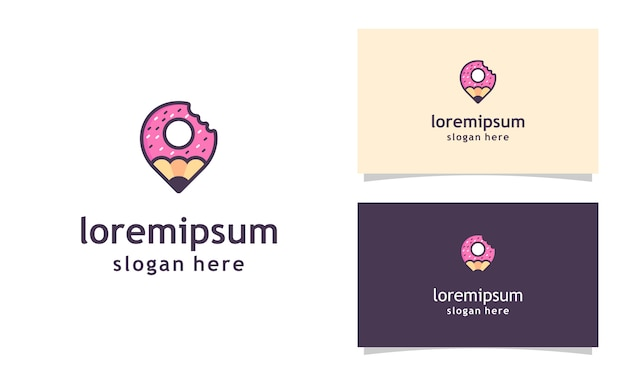 Delicious donuts logo template, with pencil donuts