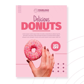 Шаблон плаката вкусные пончики