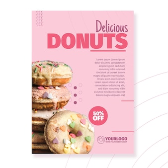 Delicious donuts poster template