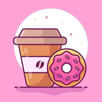 평면 스타일의 맛있는 도넛과 커피 음식 또는 디저트 애완 동물 로고 벡터 아이콘 그림