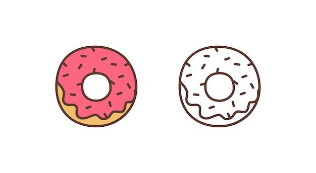Вкусный пончик линейный вектор значок. сладкий глазированный пончик с иллюстрацией набросков брызг. кондитерская, пекарня, элемент дизайна логотипа кондитерских изделий. вкусная выпечка на белом фоне.