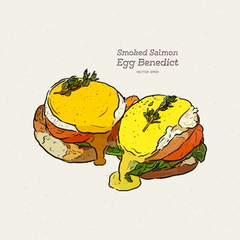 A delicious eggs benedict with smoked salmon, hollandaise sauce,  hand draw sketch vector.