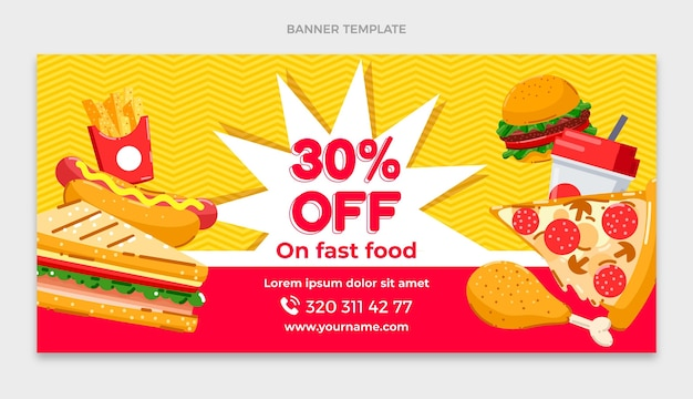Delicious fast food banner with discount