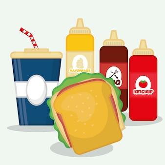 Delicious fast food graphic design
