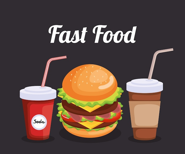 Delicious fast food icons vector illustration design