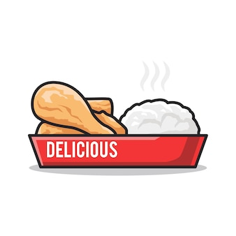 Вкусное меню быстрого питания с рисом и жареным цыпленком в милой иллюстрации искусства линии