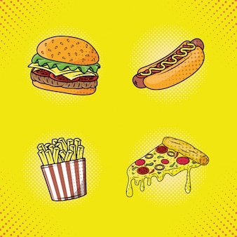 Delicious fast food pop art style