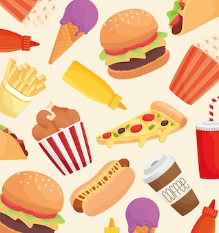 Delicious fast food products pattern  illustration design