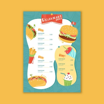 Delicious fast food restaurant menu