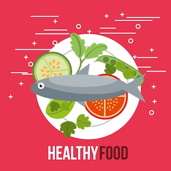 Delicious fish salad tomato cucumber healthy food
