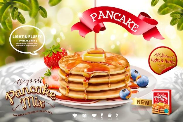 自然のきらめきの背景、朝のシーンにおいしいふわふわのパンケーキ広告