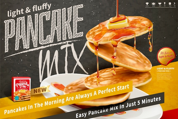 Delicious fluffy pancake floating in the air on blackboard background