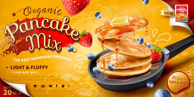 Delicious fluffy pancake in frying pan, fresh fruit and honey toppings , food ad banner or poster
