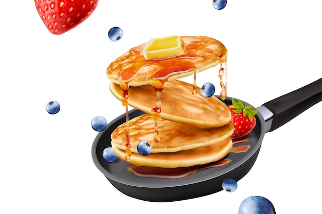 Delicious fluffy pancake in frying pan, fresh fruit and honey toppings  on white background