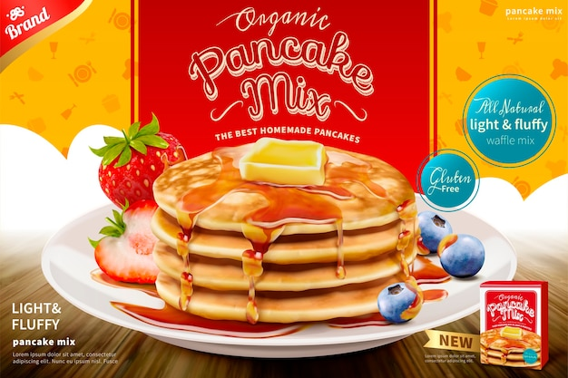 Delicious fluffy pancake with honey butter toppings and fresh fruit , pancake mix product ad