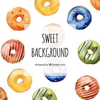 Delicious food background with donuts