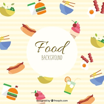 Delicious food background with flat design