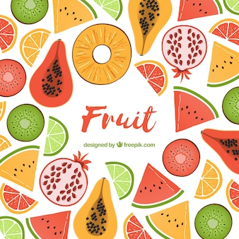 Delicious food background with fruits