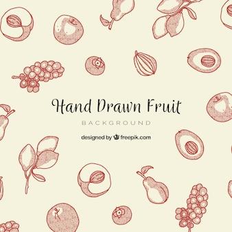손으로 그린 스타일으로 맛있는 음식 배경