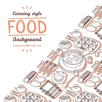 Delicious food background with hand drawn style