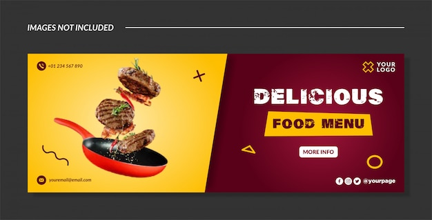 Delicious food banner template or facebook cover