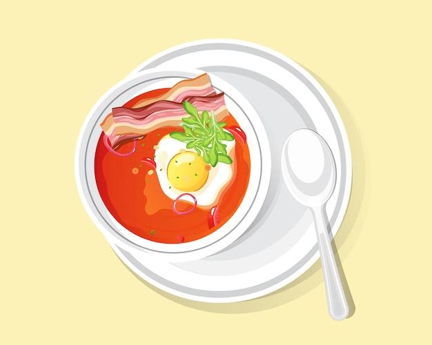 맛있는 음식 그릇 수프, 계란과 베이컨을 곁들인 토마토 수프