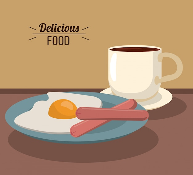 Delicious food breakfast with fries egg sausages and coffee cup