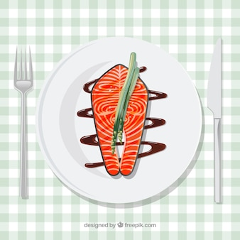 Delicious food composition with elegant style