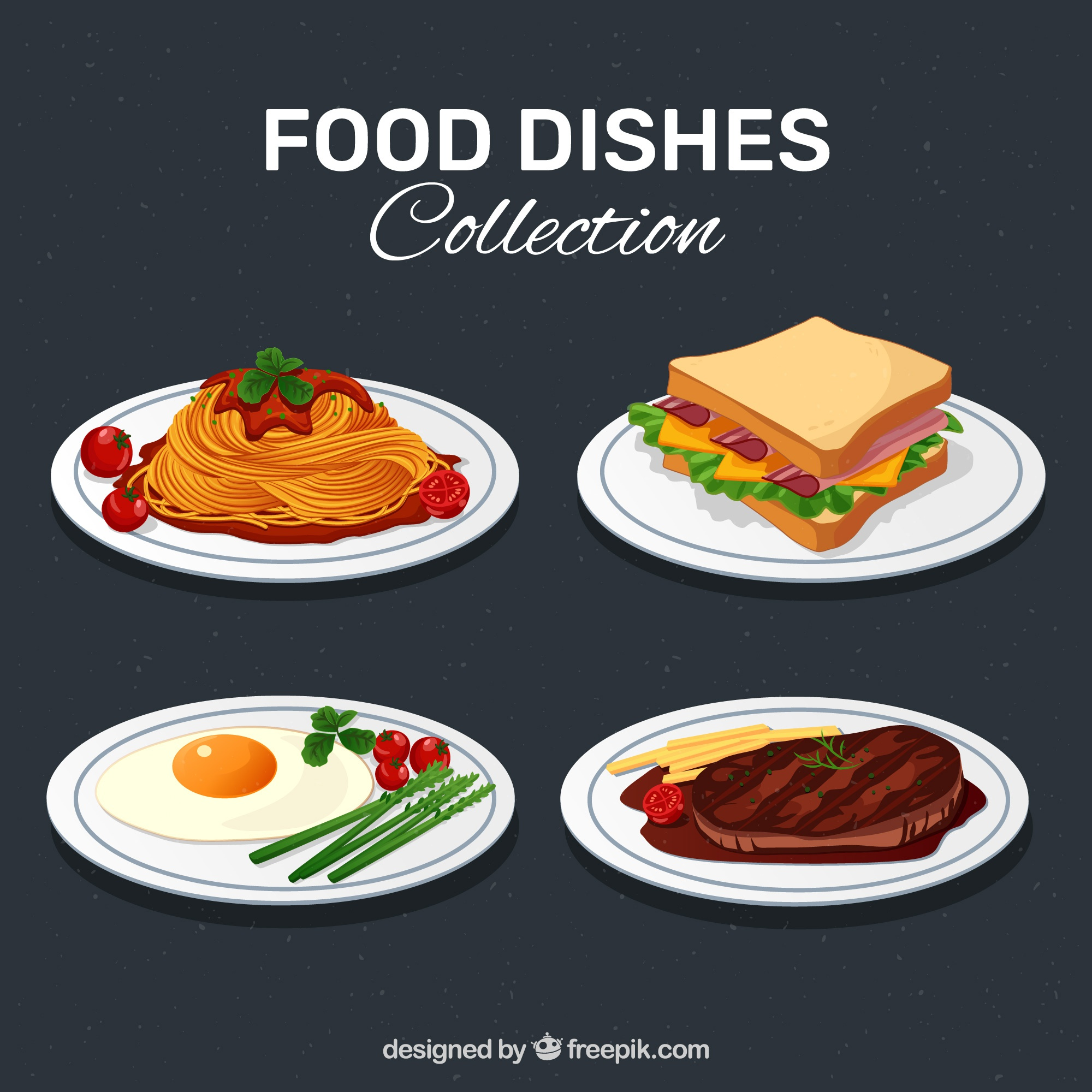 Delicious food dish collection