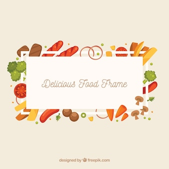 Delicious food frame with flat design