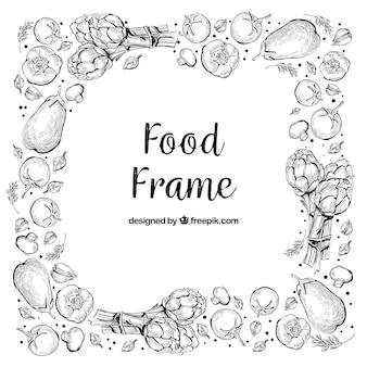 손으로 그린 스타일으로 맛있는 음식 프레임