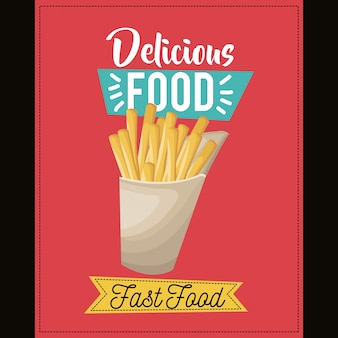 Delicious food. french fries fast food snack lunch card